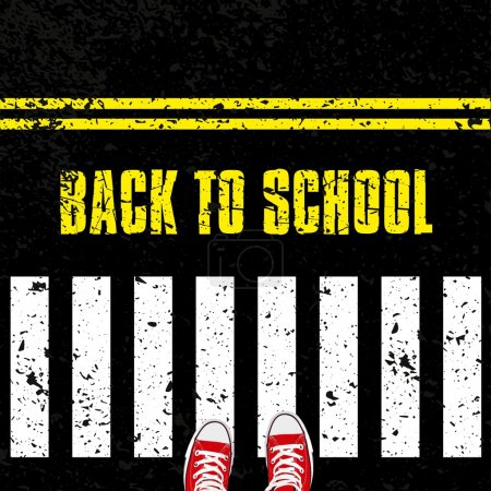 Illustration for Back to school, Road safety concept with sneakers - Royalty Free Image