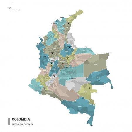 Illustration pour Colombie higt carte détaillée avec subdivisions. Carte administrative de la Colombie avec le nom des districts et des villes, colorée par les États et les districts administratifs. Illustration vectorielle. - image libre de droit