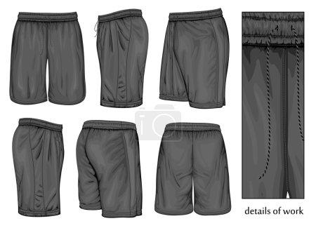 Mens black sport shorts.