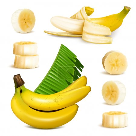 Illustration for Ripe yellow bananas, slices and leaves. vector illustrations - Royalty Free Image