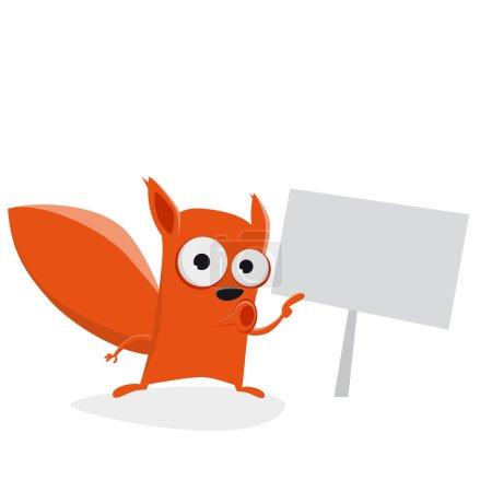 Illustration pour Drôle écureuil dessin animé montrant un signe - image libre de droit