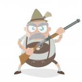Angry bavarian man with gun