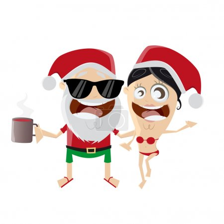 funny cartoon santa claus with girl and mulled wine