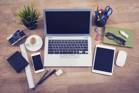 Photo for Top view office desk hero header image - Royalty Free Image