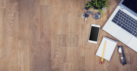 Photo for Top view of an office desk - Royalty Free Image