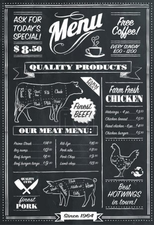Illustration for Vector Chalkboard menu for restaurant or butcher - Royalty Free Image