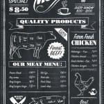Vector Chalkboard menu for restaurant or butcher...