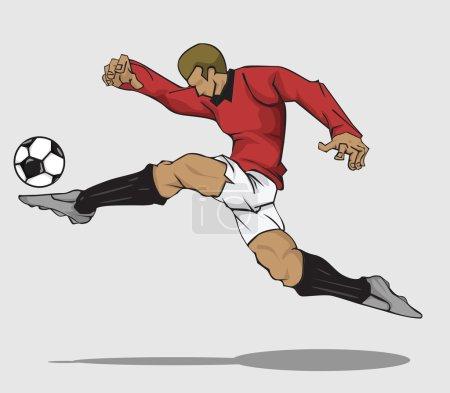 Vector illustration Soccer player kicking the ball