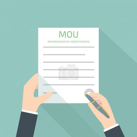 Bussines vector illustration of memorandum of understanding MOU