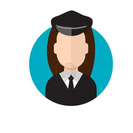 Illustration pour Une conductrice de limousine. Icône conducteur de limousine. Illustration vectorielle - image libre de droit