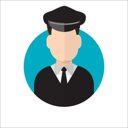 Illustration pour Chauffeur de limousine. Icône conducteur de limousine. Illustration vectorielle - image libre de droit
