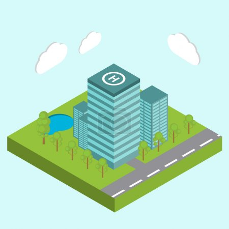 Illustration for Business center city area buildings isometric concept abstract vector illustration - stock vector - Royalty Free Image