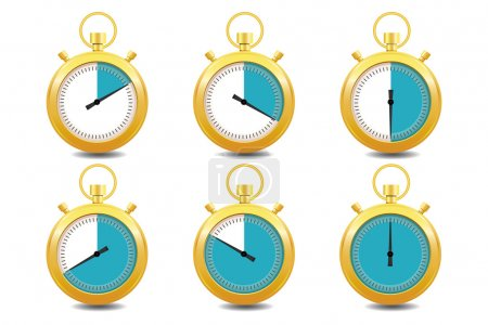 Colorful Stopwatches Gold Icon