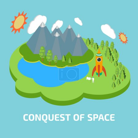 Illustration for Conquest of space. Space isometric elements. - Royalty Free Image