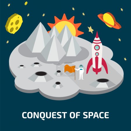 Illustration for Conquest of space of the Moon.  Space isometric elements. - Royalty Free Image