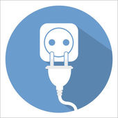 Electricity icon on blue