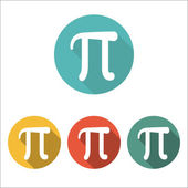Mathematic Pi icon flat Set of four color icons