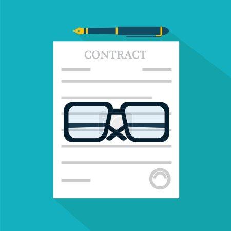 Illustration pour Préparation contrat d'affaires icône vectoriel illustration - image libre de droit