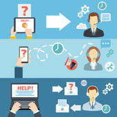 Technical support call center contact flat banner set vector illustration
