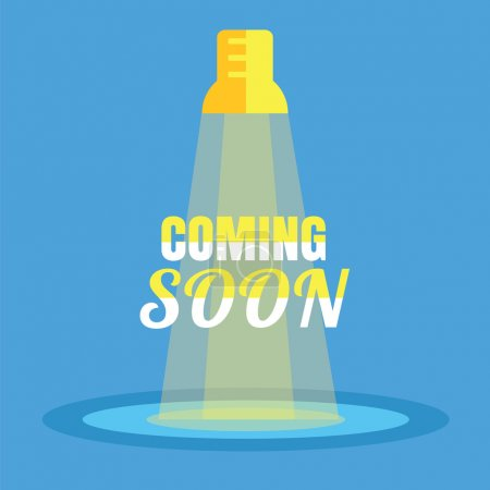 Illustration for Coming soon flat. Yellow spotlight with text against blue background - Royalty Free Image