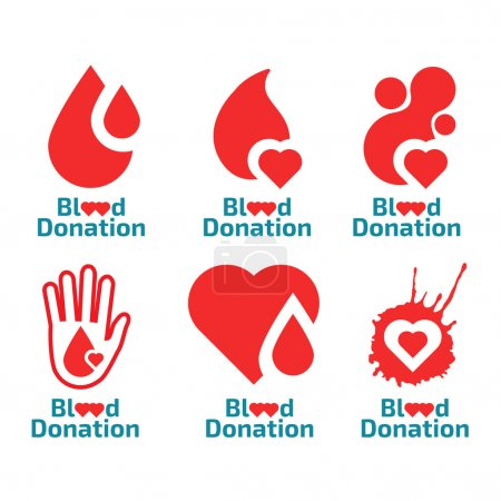 Donate blood logos set