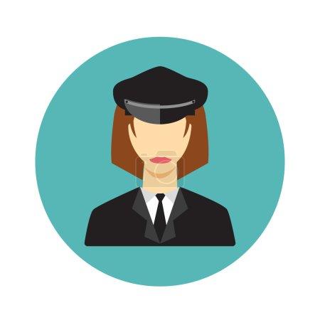 Illustration pour Icône femme conducteur de limousine sur fond blanc - image libre de droit