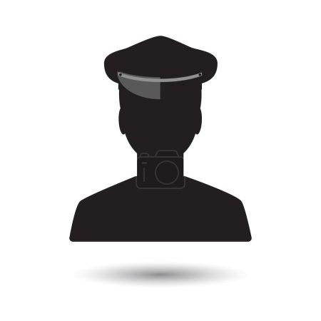 Illustration pour Homme mlack limousine conducteur icône sur fond blanc - image libre de droit