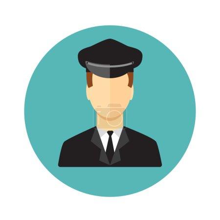 Illustration pour Icône conducteur de limousine masculine sur fond blanc - image libre de droit