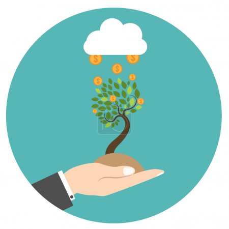 Hand holding with new tree with financial cloud.