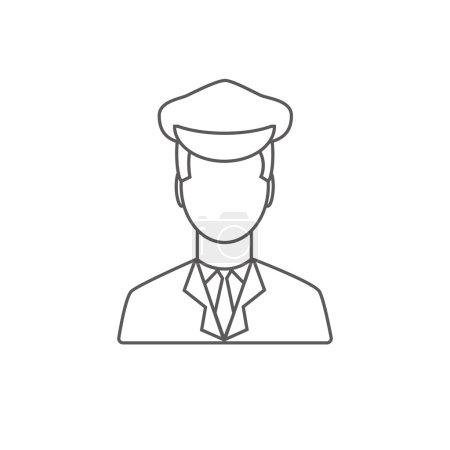 Illustration pour Pilote de limousine icône linéaire sur fond blanc. Icône conducteur de limousine . - image libre de droit