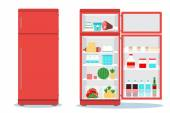 Open and closed refrigerators with food