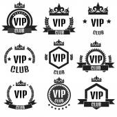 Black VIP club logos set in flat style