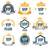 Colorful VIP club logos set in flat style