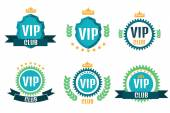 VIP club logos set in flat style against white background