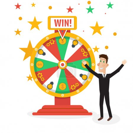 Illustration for Wheel of fortune with man Vector illustration - Royalty Free Image