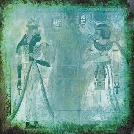 Photo pour Grunge vert-bleu Egypte fond avec la reine Néfertiti, Pharaon et hiéroglyphes - image libre de droit