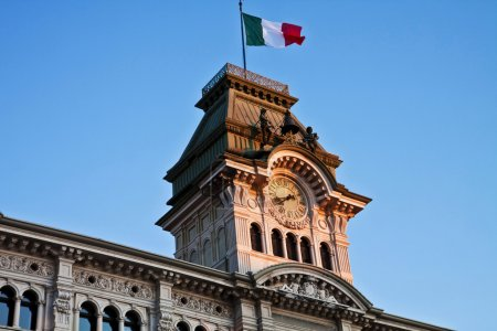 Trieste, Italy -Unity of Italy Square, detail of City Hall  tower
