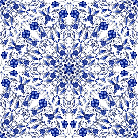 Seamless floral pattern of circular ornaments. Light blue background in the style of Chinese painting on porcelain.