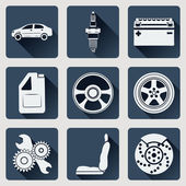 Set of icons auto parts Flat design with long shadows Vector illustration