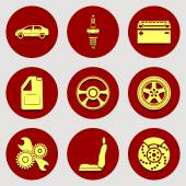 Set of icons auto parts Flat design Yellow badges on red background Vector illustration