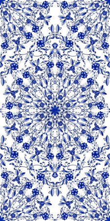 Illustration for Seamless blue floral pattern. Background in the style of Chinese painting on porcelain. Vector illustration. - Royalty Free Image