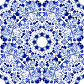 Seamless floral pattern Blue ornament of berries and flowers in the style of Chinese painting on porcelain