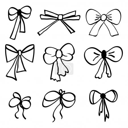 Illustration for Set of hand-drawn bows. Vector illustration. - Royalty Free Image