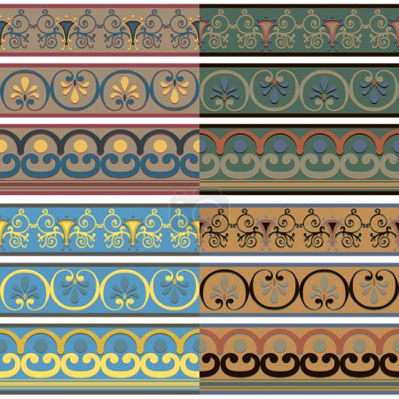 Set of seamless Greek patterns of different colors.