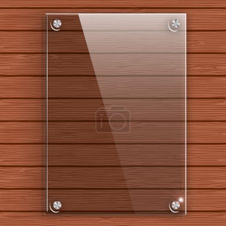 Illustration pour Plaque de verre sur le mur de fond de planches de bois. Illustration vectorielle . - image libre de droit