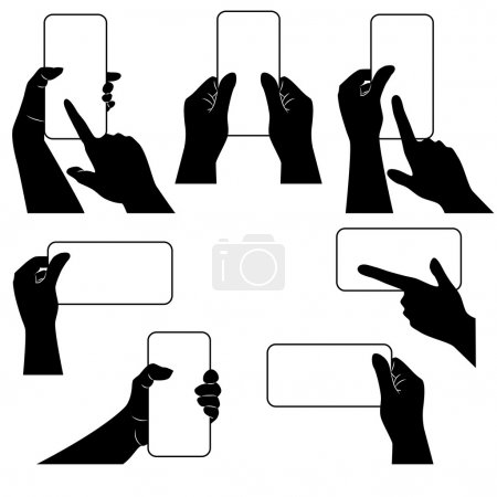 Hands with smartphone and whether other gadget. Template.