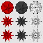 Set of three-dimensional geometric figures Great dodecahedron Great stellated dodecahedron Vector illustration