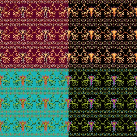 Set of seamless Byzantine patterns of different colors.