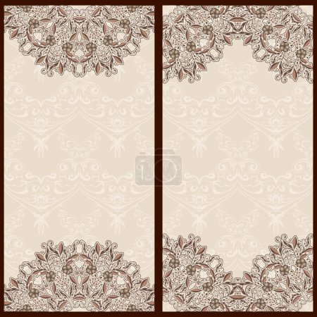Set of templates for banners or vintage greeting card with ornaments in oriental style.