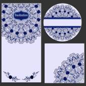 Set of invitation cards with beautiful pattern in the style of Chinese porcelain painting